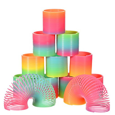 12 x LARGE Rainbow Magic Springs Slinky Spring Coil Toy Kids Party Bag Fillers