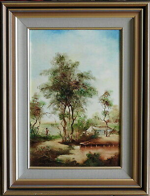 Norman Robins (1914-88) Original Oil Painting Peaceful Afternoon Rural Landscape
