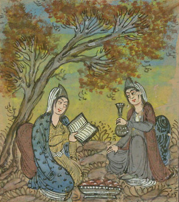 Indian Miniatures - Late 19th Century Gouache, Women Reading in a Landscape
