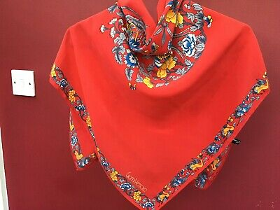 Gianni Versace. Vintage Ladies Silk Scarf- Gorgeous Red-Birds And Flora