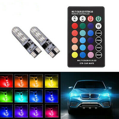 2X T10 LED Remote Control W5W 501 RGB Color Changing Car Wedge Side Light Bulbs