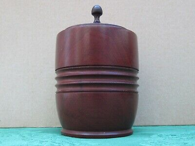 Vintage Antique Mahogany Turned Wood Tobacco Storage Jar Pot Lidded with Finial