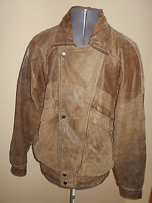 Vtg 80s  MIDWAY Mens Distressed Flight Bomber Bike  LEATHER JACKET COAT Sz 42