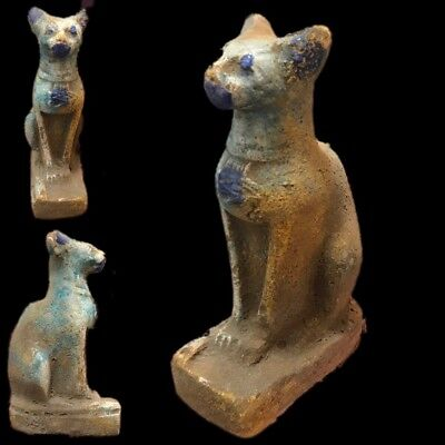 Rare Ancient Huge Egyptian Sitting Cat Statuette  Late Period 664 - 332 Bc
