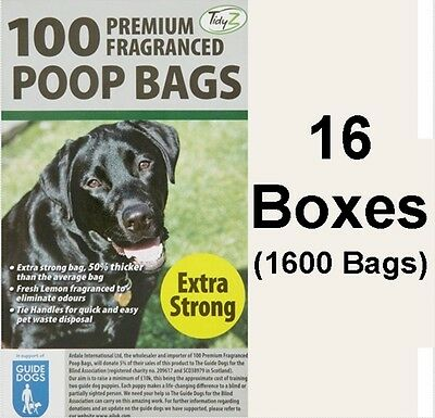 1600 Doggy Bags Scented Extra Strong Dog Cat Poo Waste Toilet Pet Bag Fragrance