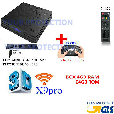 TV BOX X- Q10 Android 8.1 4GB RAM 64GB 6K IPTV 4 CORE WIFI 64BIT H.265 TASTIERA
