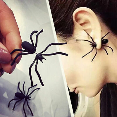 Black Hollween Funny Weird Big Black Spider Ear Stud Punk Style Earring Weird