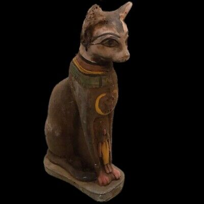 Rare Ancient Huge Egyptian Sitting Cat Statuette  Late Period 664 - 332 Bc (2)