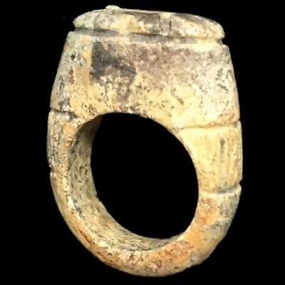 Beautiful Rare Ancient Egyptian Faience Glazed Ring With Fish 300 Bc (1)