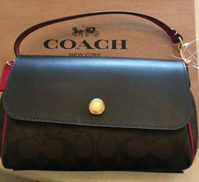203accbdd150 NWT Coach F59534 Leather Reversible Crossbody Bag Black and Red w Signature  C