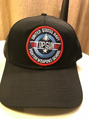 b0c6daf9897 U.S. Navy Top Gun Fighter Weapons School Snapback Trucker Hat Badge Black