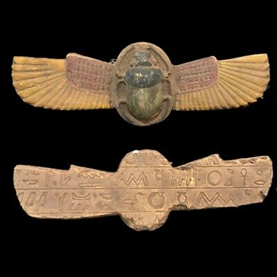 Ancient Egyptian Winged Scarab Beetle 664 - 332 Bc Large Over 21.5 Cm Wide !!