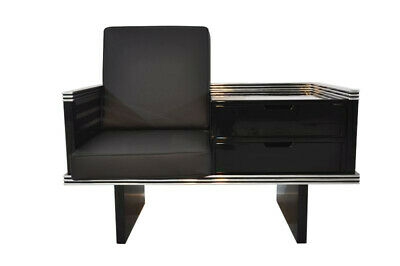 Pair of Art Deco Design Armchairs with Chromebars and Drawers