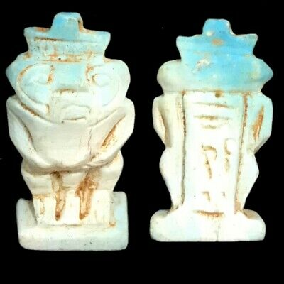 Rare Beautiful Ancient Egyptian Faience Glazed Bes Amulet 300 B.c.  (1)