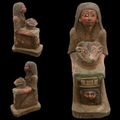 Rare Ancient Egyptian Statuette Of A Kneeling Female  Late  Period 664 - 332 Bc