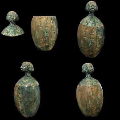 Very Rare Ancient Egyptian Faience Canopic Jar Late Period 664 - 332 Bc (3)