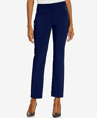 $190 Tahari Asl Womens Blue Skinny-Leg Mid-Rise Dress Work Pants Petite Size 16p