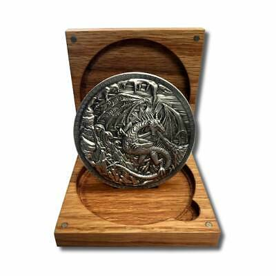 10 oz. Dragon vs.Viking .999 Fine Silver High Relief In a Solid Oak Box