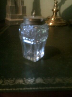 Antique Cut Glass & Silver Plate Lidded Pot, Condiment Jar