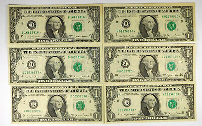Lot Of 6 1977A $1 Federal Reserve STAR Notes