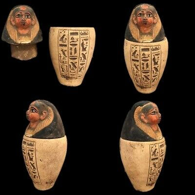 Very Rare Ancient Egyptian Canopic Jar Late Period 664 - 332 Bc (2)