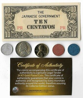 Rare US WW2 Coin Collection Lot Japan Note Silver War Nickel Gold Lincoln OPA W6