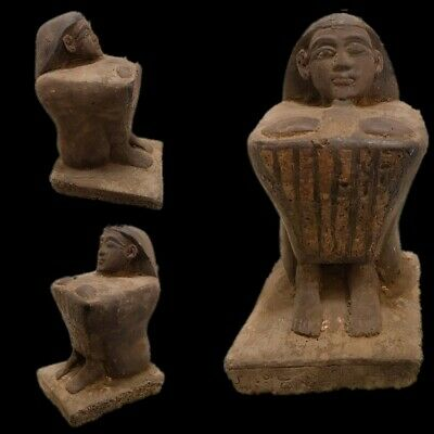 Ultra Rare Ancient Egyptian Intact Sitting Statuette  Late Period 664 - 332 Bc