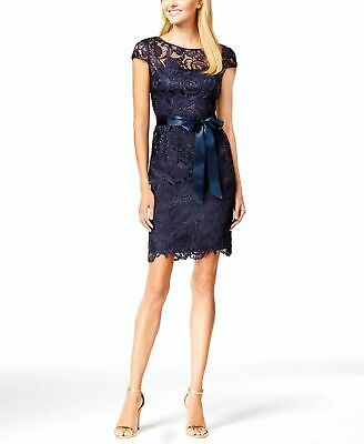 $360 Adrianna Papell Womens Blue Lace Cap-Sleeve Cocktail Sheath Dress Size 6