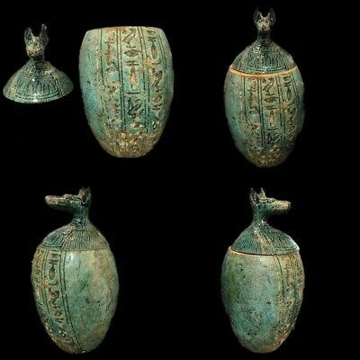 Very Rare Ancient Egyptian Faience Canopic Jar Late Period 664 - 332 Bc (5)