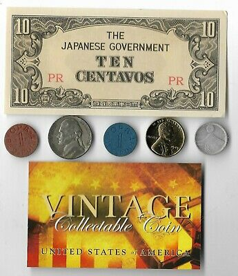 Rare US WW2 Coin Collection Lot Japan Note Silver War Nickel Gold Lincoln OPA U6