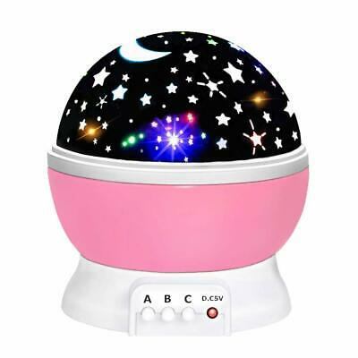 Star And Moon Rotating 360 Degree Childrens Baby Night Light for boys and girls