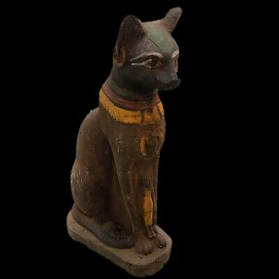 Rare Ancient Huge Egyptian Sitting Cat Statuette  Late Period 664 - 332 Bc (4)