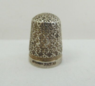Antique Silver Steel Core Thimble RD 426659 Pat 10 Charles Horner ?