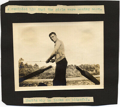 STUNNING DOUBLE SIDED ALBUM FRAGMENT w GREAT CAPTIONS & CUTE FISHING MAN