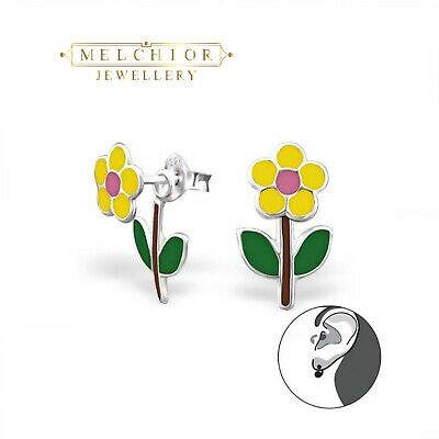 d640c8a01 925 Sterling Silver Childrens GIRLS Double FLOWER Stud Earrings Gift Boxed