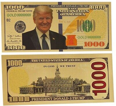 GOLD Foil US DONALD TRUMP $1000 Dollar Bill Republican Collection Novelty Note