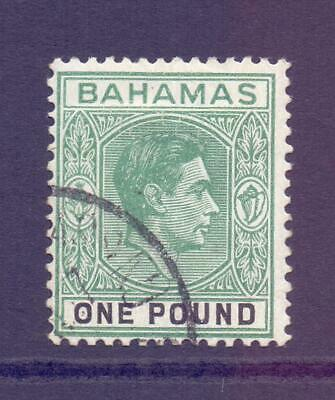 BAHAMAS SG157a KGVI £1 Deep Grey and Green High Value Fine Used Cat £55