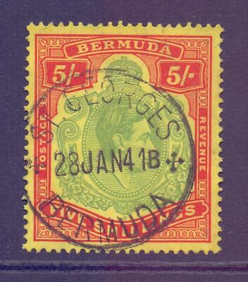 BERMUDA SG118 KGVI 5s Green and Red on Yellow Keyplate Fine Used CDS Cat £48