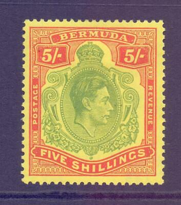 BERMUDA SG118f KGVI 5s Green and Red on Yellow Keyplate Fine MINT Cat £35