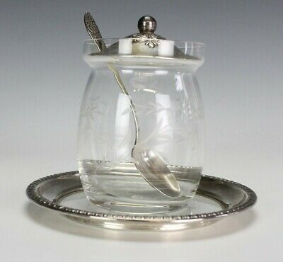 Vintage Ornate Sterling Silver Floral Etched Glass Mustard Jelly Jar w Spoon SBB
