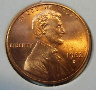 1982 D BU Lincoln Cent, Zinc Small Date, FREE SHIPPING   (7_7)