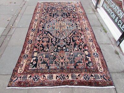 Old Hand Made Traditional Persian Rug Oriental Wool Blue Pink Long Rug 281x148cm