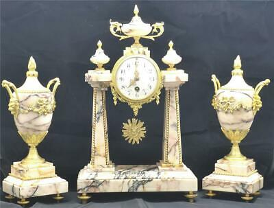 Antique French Mantle Clock 3 Piece Set 8 Day Cream Marble Portico
