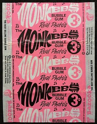 A&BC 1967 Monkees 3D Light Pink Variant Bubble Gum Card Wax Wrapper - FCC