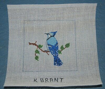 hand painted needlepoint canvas bird blue jay branch