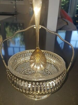 Queen Anne silver plated sugar bowl with spoon