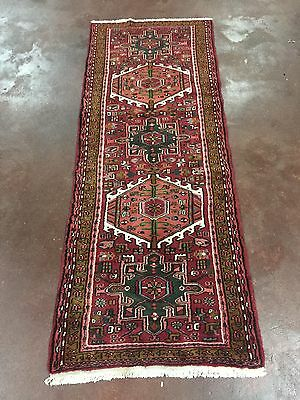 On Sale Beautiful Hand Knotted Persian Geometric Runner Red Carpet 2'4x6'4