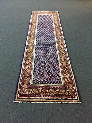 """On Sale Hand Knotted Persian-Sarouk Floral Traditional Blue Rug Carpet 2'11""""x9'5"""
