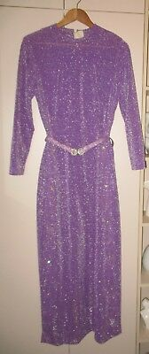 VINTAGE 1970s JOHN J HILTON LUREX MAXI DRESS SIZE 14 GOOD CONDITION