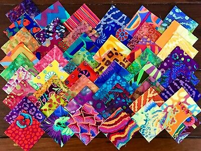 100 Kaffe Fassett  + batiks prints cotton quilting fabric 2.5 inch squares #68a
